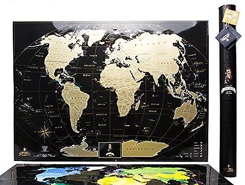 Schwarze Rubbel Weltkarte – Hochwertige Qualität – Rubbel Weltkarte Deluxe Edition - Scratch Map - Weltkarte zum frei rubbeln - Weltkarte zum freirubbeln - Scratch off world map - Rubbelkarte - Landkarte