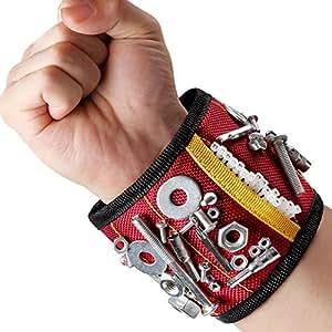 Magnetisches Armband Magnetarmband Werkzeug   mit 10 Magnet Stark Zugkraft   Leicht Angenehm Tragen   für Nägel Schrauber Bohrer Magnetische Pickup-Kit Handgelenk Band