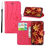 BestCatgift [Embossed Hearts & Butterfly PU Leather Flip Cover Wallet Phone Custodia per Samsung Galaxy S10+/S10 Plus SM-G975 with [Card Holder][Kickstand] - Rose Red