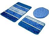 3-teilig Badset Badgarnitur Badematten Badteppich Timor 014 Blau 02