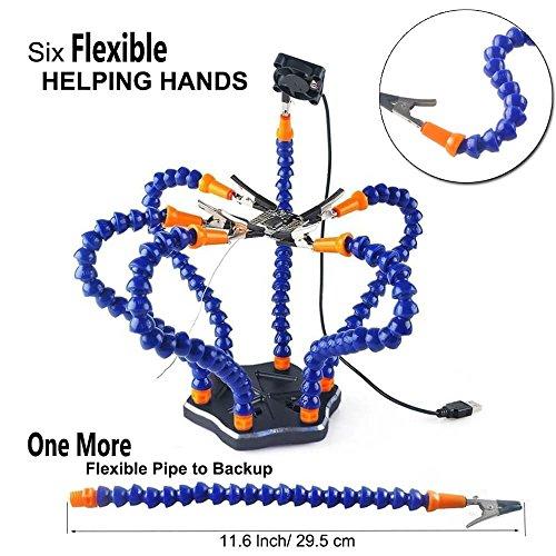 Flexibel Helfende Hände , Loeten Dritte Hand löthilfe , Lötstation Werkzeug (Flexible 7 Arme Helfende Hände, 360 Grad schwenkbare Clips, bürstenlosen DC-Ventilator) von LITEBEE --- Schwarz (Brennen Sie Es Tun)