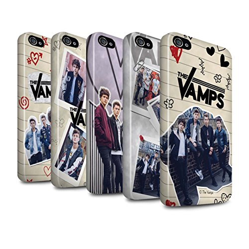 Offiziell The Vamps Hülle / Glanz Harten Stoßfest Case für Apple iPhone 4/4S / Pack 5Pcs Muster / The Vamps Doodle Buch Kollektion Pack 5Pcs
