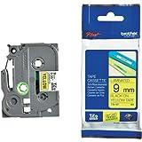Beschriftungsband für Brother P-Touch 1260 VP, Schwarz auf Gelb, 9 mm, Schriftband-Kassette für PTouch 1260VP, 9mm breit, 8mtr.