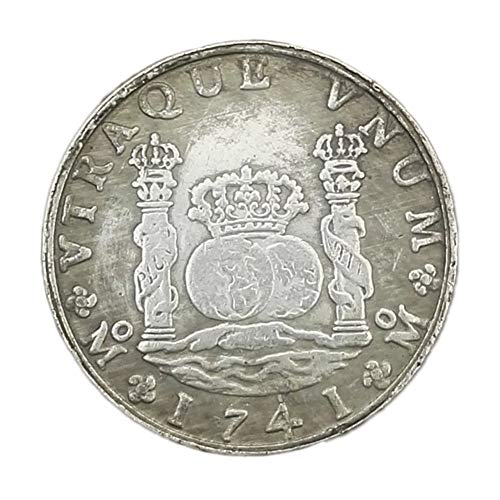 Xinmeitezhubao Antike Silberdollar Silbermünzensammlung, spanische Doppelspalte 1741 Silbermünze, alte weiße Kupfer Silberdollarmünze, kann Durchmesser 38mm durchbrennen