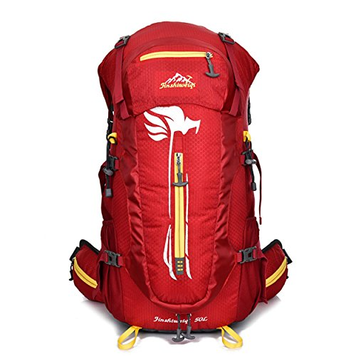 Wasserdichte Reise Rucksack 50L Outdoor Multifunktion großen Oxford Rucksack für Wanderungen Klettern Bergsteigen Pack Tasche abnehmbare tragenden Daypack H32 x L63 x T20 cm Red