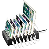 NEXGADGET Estación de Carga 7 Puertos USB Demontable el Soporte de Carga Se Ajusta a la Mayoría de los Dispositivos Cargados USB