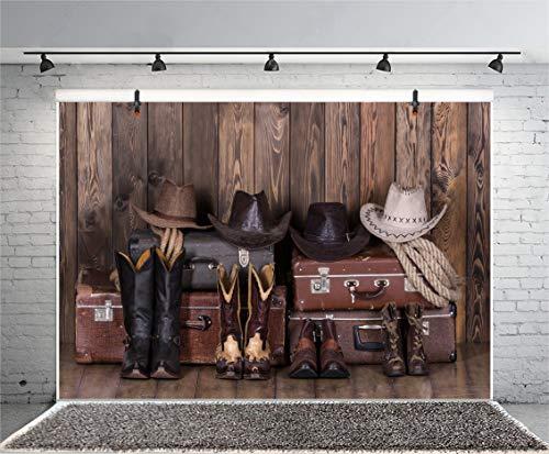 OERJU 1,5x1m Holzbrett Hintergrund Cowboy-Anzug Grauer Koffer Seil Textur Holzwand Hintergrund Western Landschaft Landschaft Foto Porträt Studio Fotografie Hintergrund