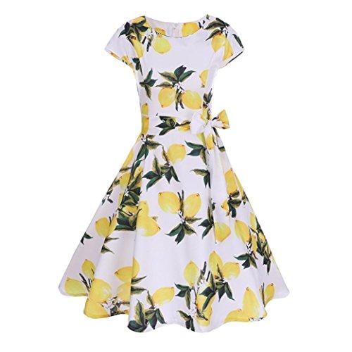 IN Damen Retro Hepburn Stil Zitrone Drucken Kleider Kurzarm Knielang Röcke Petticoat (S~XXL, Gelb) (S, Gelb) ()