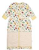 Chilsuessy Winter 2.5 Tog Kinder Schlafsack mit abnehmbaren Ärmeln Bio Babyschlafsack für Jungen und Mädchen von 1 bis 10 Jahre alt (M/Koerpergroesse 70-100cm, Gelb Tiere)