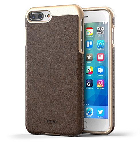 "iPhone 7 Plus (5.5"") Premium Vegan Leather Case - Artura Collection By Encased (Jet Black) Hickory"