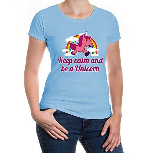 buXsbaum® Girlie Damen T-Shirt Keep calm and be a unicorn   Geschenk für Fantasie Liebhaber Fabelwesen skyblue-z-direct
