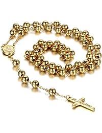 0a2303d21e20 Collar Rosarios Para Hombre Colgante Cruz Religiosa Acero Inoxidable Largo  93CM Oro