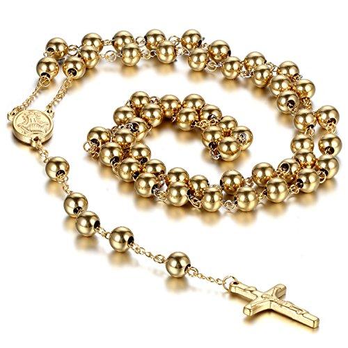 cupimatch Unisex Edelstahl Christian katholischen Religiöse Rosenkranz Kreuz Kruzifix Anhänger Lang Link Perlen Kette Halskette Gold Farbe