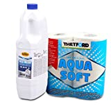 Camp4 Sanitärflüssigkeit Abwassertank für Camping-Toiletten + 4 Rollen Thetford Aqua Soft für Wohnmobil, Boot, Wohnwagen
