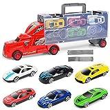 SOTEER Kinder Geschenkset Fahrzeuge 6er Autos Spielzeugauto Set mit 2 Tracks, ab 3 Jahren