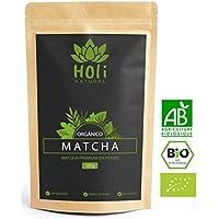 Precio de lanzamiento! 105g Polvo Premium de Matcha Orgánico de cultivaciones ecológicas - Té verde japonés de Calidad Premium - Ideal para beber como Latte o infusión, para repostería y para cocinar muchas otras recetas