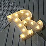 LED-Alphabet 26 Buchstaben-Lichter, leuchtend, weiß, warm, hängend, A-Z, für Zuhause, Hochzeitsdekoration, ABS Polypropylen, R, Einheitsgröße