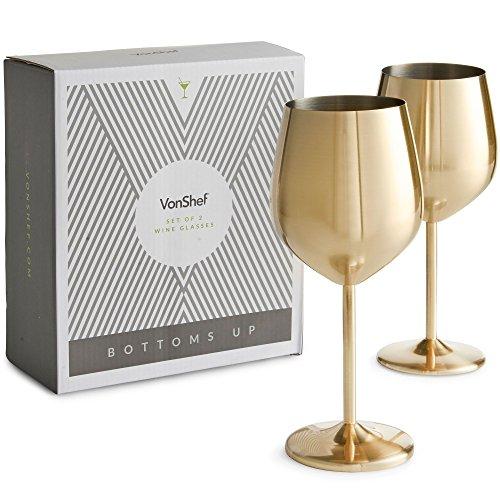 Vonshef set di 2 bicchieri da vino in acciaio inox infrangibili - oro