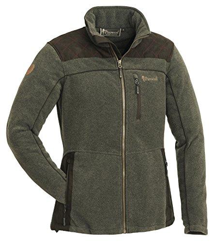 Pinewood Damen Diana Exclusiv Fleece Jacke, Oliv Melange/Wildlederbraun, S