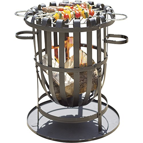 CLIFFORD JAMES Buenavista Steel Brazier Fire Basket Patio Heater, Wood Burner/Charcoal Burner BBQ Grill Set with Ash Pan and Accessories for Garden Open Fires, Patio Cooking and Fire Pit