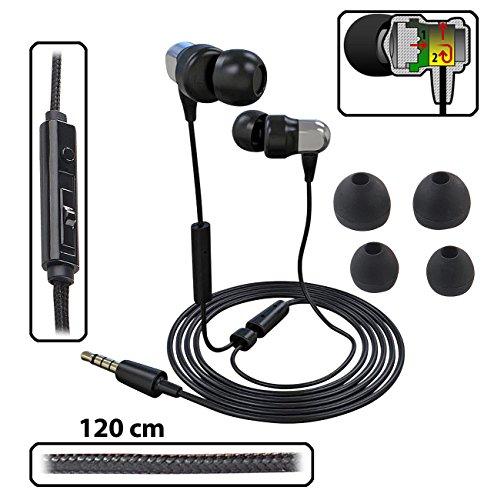 PEARL Stereo Headset: Premium-In-Ear-Headset mit Fernbedienung und patentiertem Soundsystem (Kopfhörer Handy) -