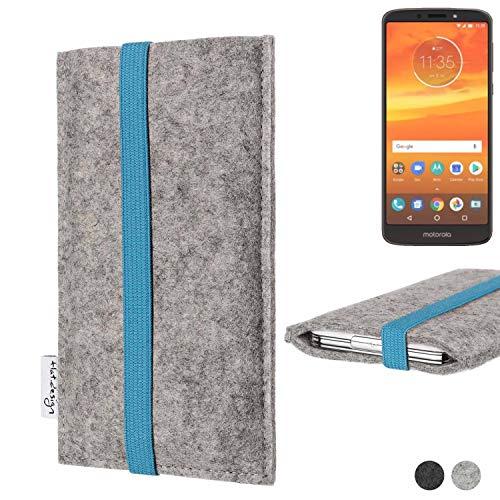 flat.design Handy Hülle Coimbra für Motorola Moto E5 Plus Dual-SIM - Schutz Case Tasche Filz Made in Germany hellgrau türkis