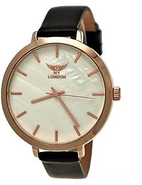 Elegante NY London Damen-Uhr Analog Quarz Leder Armband-Uhr Klassisches Design Schwarz Rose-Gold mit Perlmutt...