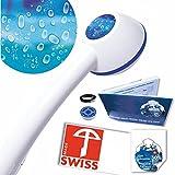 Duschkopf ideal für Durchlauferhitzer RAINDROPS, kräftiger Strahl, verkalkungsfrei, Schweizer Produkt, 1 Wassersparer für 2 Durchflussmengen in den Energieklassen B-C