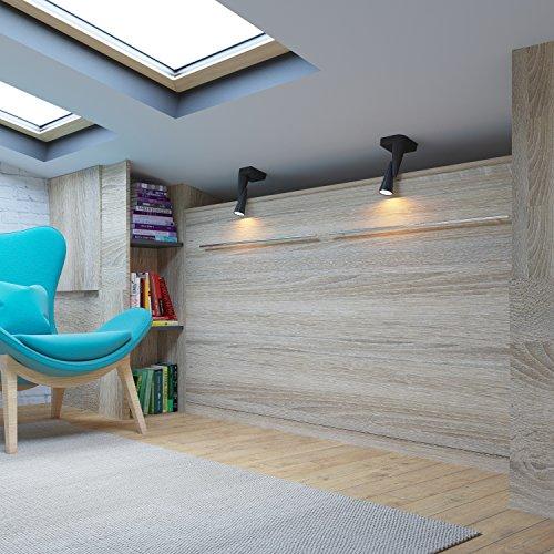 Schrankbett 90×200 cm Horizontal Eiche Sonoma- Schrankklappbett & Wandbett, ideal als Gästebett – Wandbett, Schrank mit integriertem Klappbett, Sideboard - 2