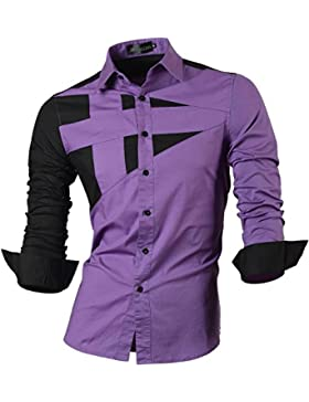 Jeansian Uomo Camicie Maniche Lunghe Moda Men Shirts Slim Fit Casual Long Sleeve Fashion 8397