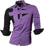 jeansian Herren Freizeit Hemden Shirt Tops Mode Langarmshirts Slim Fit 8397 Purple XXL [Apparel]