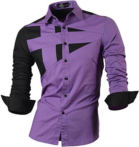 Jeansian De manga Larga De Los Hombres De Moda Slim Fit Camisas Men Fashion Shirts 8397 Purple XL