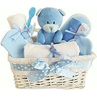 Angelo bianco in vimini Baby Gift/Blue Gift basket/Baby Hamper/Baby Shower cesto/New Arrival Gift/Maternity Gift/Baby Keepsake/spedizione veloce