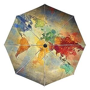 baihuishop Vintage mapa del mundo resistente al viento lluvia paraguas Auto abierto cerca 3plegable resistente protección UV paraguas de viaje compacto ligero portátil fácil de llevar