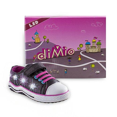 diMio Flowers Kinderschuhe mit Blinkfunktion in verschiedenen Farben Schwarz/Pink