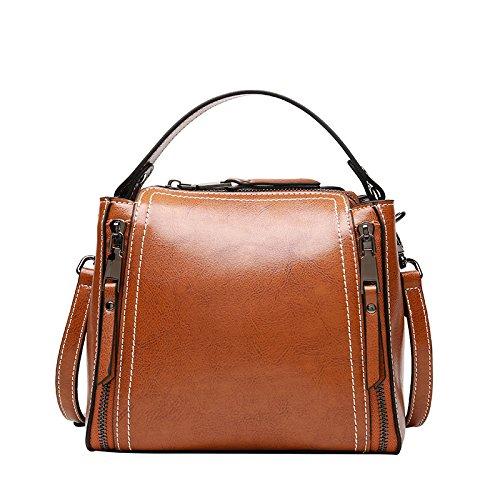 Besace en cuir de vachette sac à main bandoulière large occasionnel Tassel Sac d'épaule Paquet rouge,fermeture Éclair