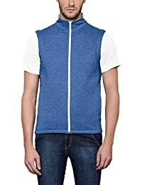 Scott Men's Royal Blue Melange Cotton Sleeveless Jacket