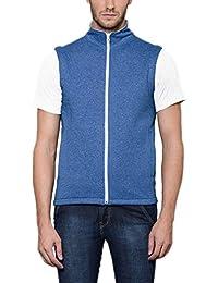Scott Men's Royal Blue Melange Cotton Sleeveless Jacket