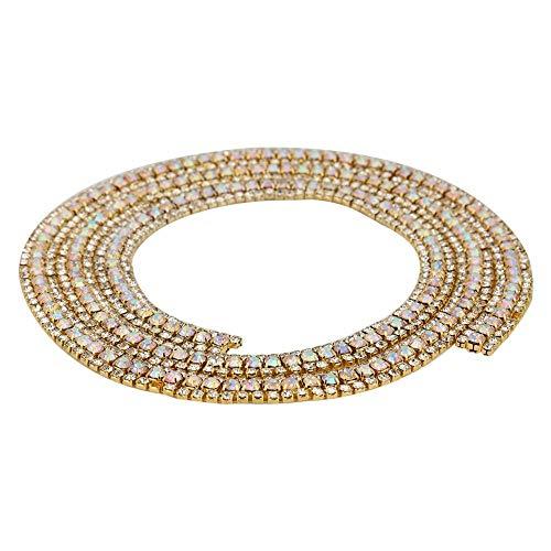 3 Reihen Strass Kette Trim Mesh Diamond Ribbon für Frauen Kleid Hochzeit Braut Gürtel(Gold AB Crystal) -