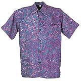 Guru-Shop Hippiehemd, Bali Batik Hemd, Herren, Flieder/Blau, Synthetisch, Size:L, Männerhemden Alternative Bekleidung