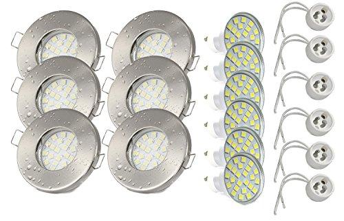 Set di 6 faretti da incasso IP65: acciaio inox spazzolato | Doccia | Sauna | Bagno, GU10 5 Watt lampadina LED 3000Kelvin (bianco caldo) 450 lumen (lampadina sostituibile) | da montare, acciaio INOX laccato anti-corrosione