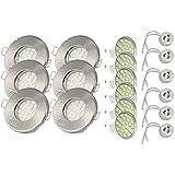 6er Set Einbaustrahler IP65 Optik: Edelstahl gebürstet Bad | Dusche | Sauna | inkl. GU10 5Watt LED Leuchtmittel 3000Kelvin (warm-weiß) 450Lumen (Leuchtmittel austauschbar) | Einbauleuchten Edelstahl lackiert rostfrei