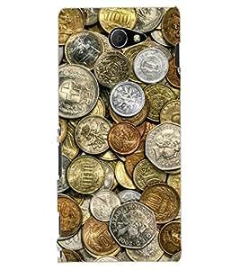 ColourCraft Antique Coins Design Back Case Cover for SONY XPERIA M2 DUAL D2302