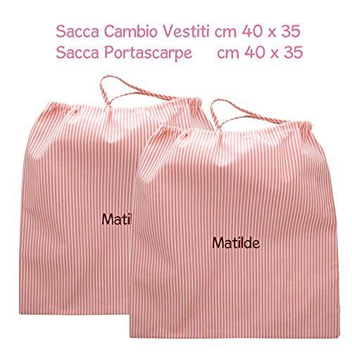 Coccole- Set due sacche per ASILO NIDO e SCUOLA MATERNA 3 mesi- 3 anni per cambio asilo e per scarpe con nome personalizzato (Rosa)