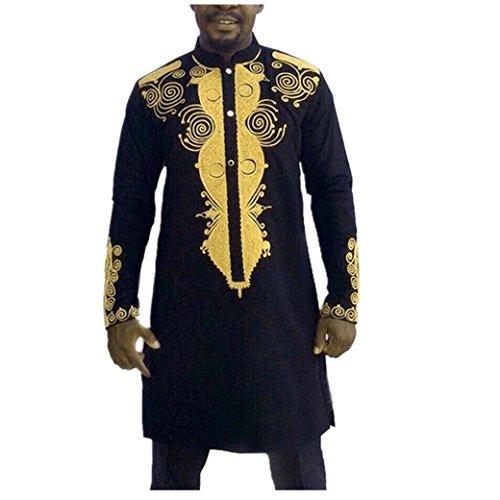 Herren Langarmshirt Longra Männer Hipster Hip Hop Afrikanische Dashiki Grafik Hemd Langarmshirts Blusen (XL, Black)