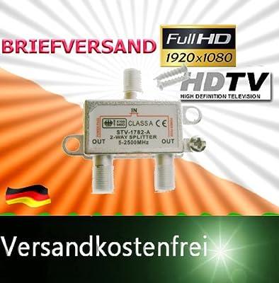 SAT Stamm-Verteiler Profi Qualität 2-Fach Splitter 2 Wege Power-Pass 5-2500 MHz 1x IN 2x OUT F-Buchse Kupplung Digital TV UKW DVB-T Y-Kabel-Adapter 100dB Weiche von SC bei Lampenhans.de