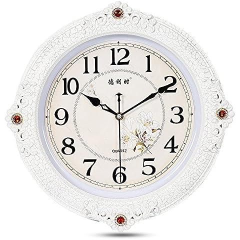 SqYa No tictac Salón Moderno estilo jardín reloj de pared Reloj de cuarzo de personalidad creadora de crack blanco de 16