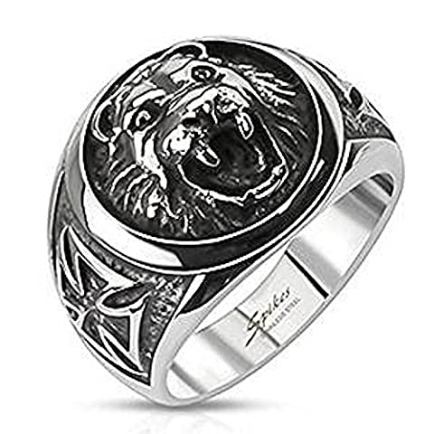 SIZE 12 ( Y ) Large Round Lion ( Cat ) Head With Side Celtic Cross 17mm Wide Case Surgical Steel