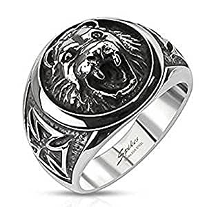 SIZE 12 ( Y ) Large Round Lion ( Cat ) Head With Side Celtic Cross 17mm Wide Case Surgical Steel Ring