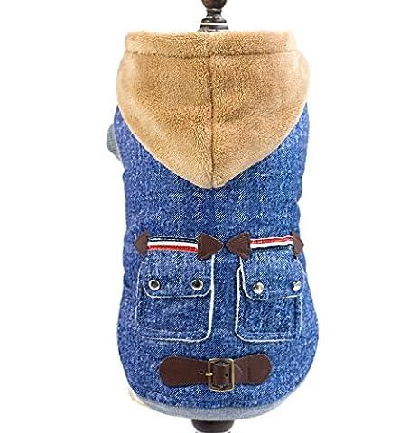 ranphy kaltem Wetter Fell Klein Katze Hund Kleidung Winter Denim Fleece Jacke Kapuzen Jacke Hooded Pet Kostüm blau
